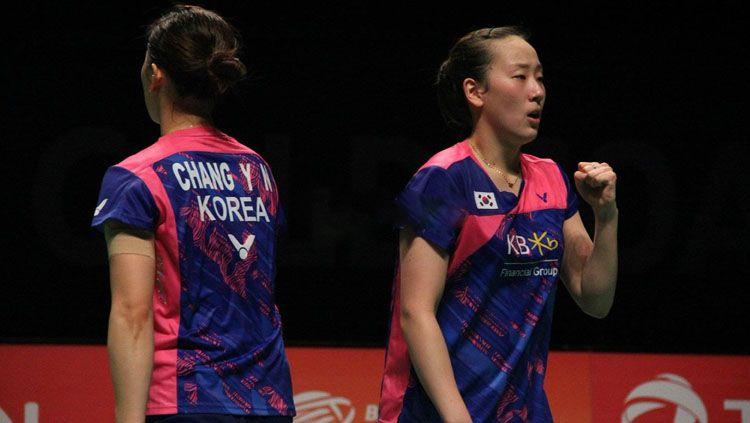 Pasangan ganda putri asal Korea, Chang Ye Na/Lee So Hee. Copyright: © Twitter@BadmintonNow