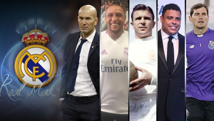 Zidane, Carlos, Puskas, Ronaldo dan Casillas. Copyright: © Grafis:Yanto/Indosport/getty images