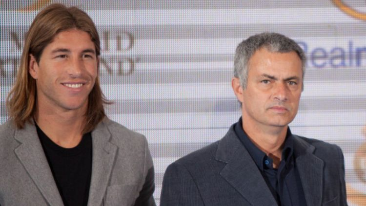 Sergio Ramos dan Jose Mourinho. Copyright: ©