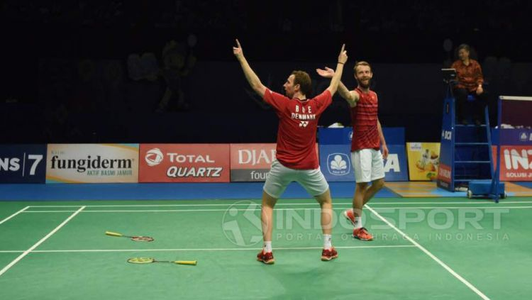 Mathias Boe dan Carsten Mogensen Copyright: Herry Ibrahim/Indosport.com