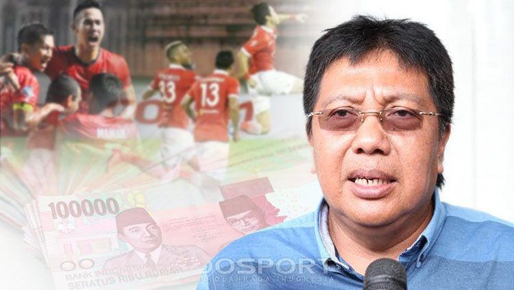 Direktur utama Persija Jakarta Gede Widiade, menyatakan Persija Jakarta tidak ada kata telat gajian. Copyright: © INDOSPORT