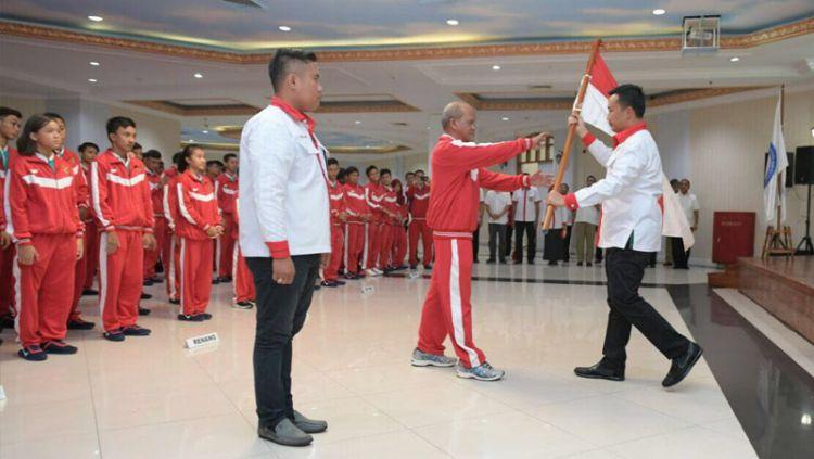 Pada ajang ASEAN School Games 2019 yang digelar di Semarang, Jawa Tengah, tim basket putri Indonesia menargetkan menang di babak pertama kontra Singapura. Copyright: © humas kemenpora