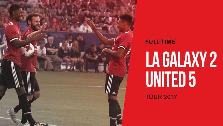 Manchester United menang 5-2 atas LA Galaxy dalam tur pramusim 2017. Copyright: © Twitter@ManUtd