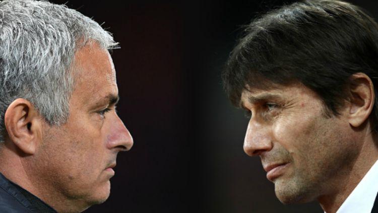 Jose Mourinho dan Antonio Conte. Copyright: © INDOSPORT