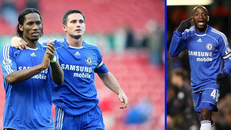 Tiga legenda Chelsea, Didier Drogba (kiri), Frank Lampard (tengah), dan Claude Makelele diprediksi akan mengisi jajaran kepelatihan The Blues. Copyright: © Getty Images