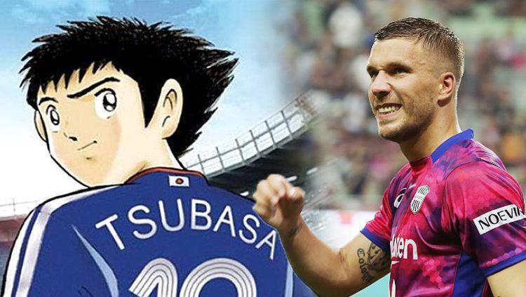 Lukas Podolski dan Tsubasa. Copyright: © INDOSPORT