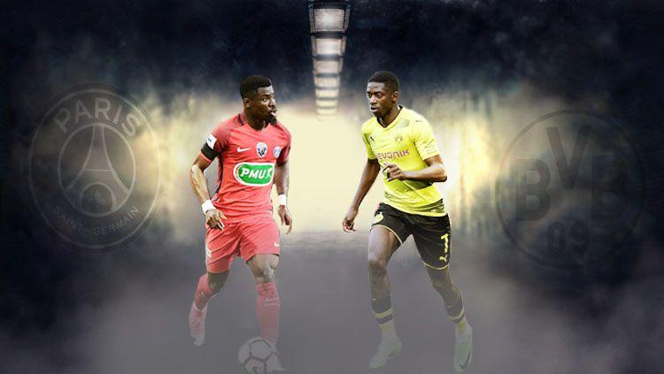 Ousmane Dembele (kanan) dan Serge Aurier. Copyright: © Grafis: Eli Suhaeli/INDOSPORT/Istimewa