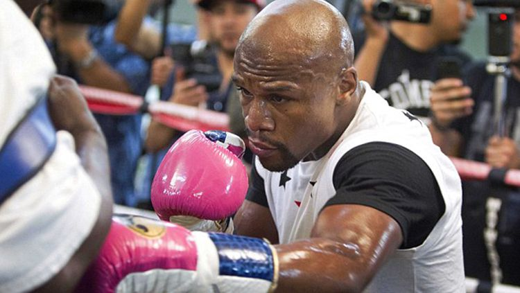 Floyd Mayweather dengan sarung tinju warna pink. Copyright: © mirror.co.uk