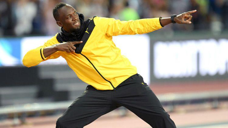 Usain Bolt selebrasi di hadapan 56 ribu pendukungnya. Copyright: © Getty Images