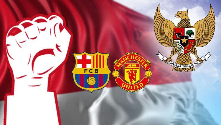Manchester United dan Barcelona rayakan Kemerdekaan Indonesia. Copyright: © Grafis: Eli Suhaeli/INDOSPORT