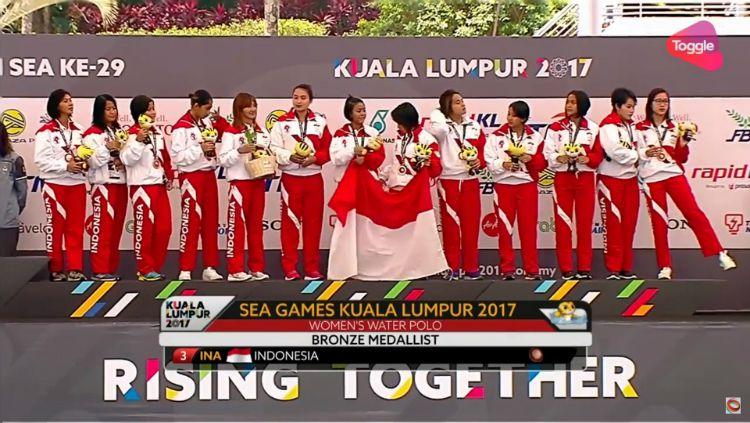 Timnas Polo Air Putri Indonesia meraih perunggu di SEA Games 2017. Copyright: © Youtube/Sport Singapore