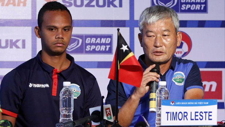 Kim Shin-hwan, pelatih Timor Leste. Copyright: © VTV.vn
