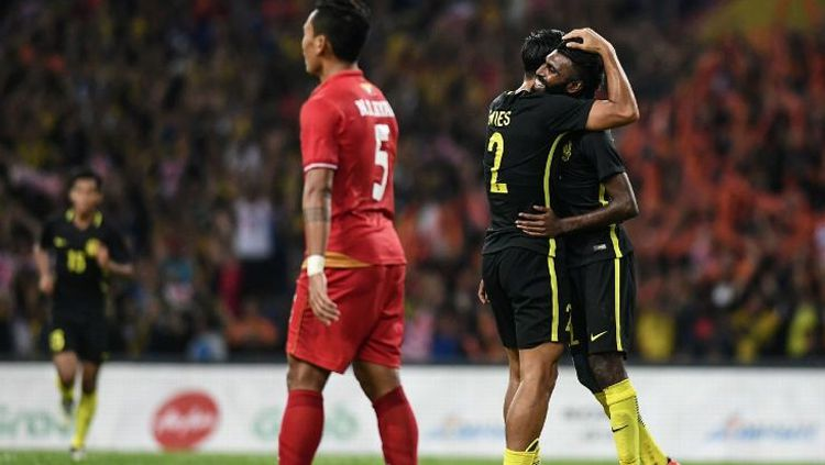 Selebrasi pemain Malaysia usai mangalahkan Myanmar. Copyright: © ESPN