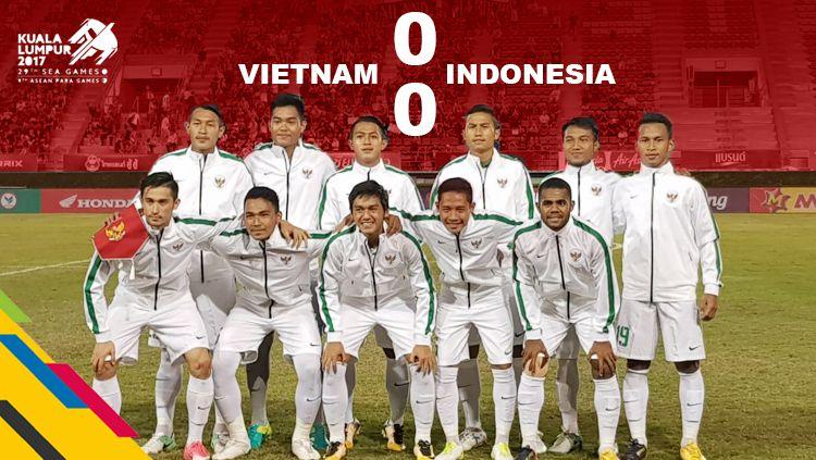 Timnas Indonesia U-22 meraih hasil seri 0-0 saat menghadapi Vietnam. Copyright: © Grafis: Eli Suhaeli/INDOSPORT