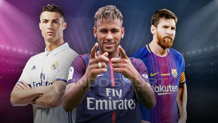 Cristiano Ronaldo, Neymar, dan Lionel Messi. Copyright: © GrafisYanto/Indosport.com