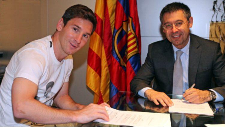 Agar buat Lionel Messi menetap di LaLiga Spanyol, Barcelona wajib menumbalkan Josep Maria Bartomeu selaku presiden klub. Copyright: © INDOSPORT