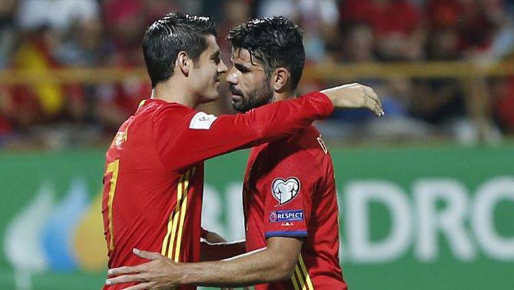 Diego Costa dan Alvaro Morata, striker asal Spanyol. Copyright: © soccersouls.com