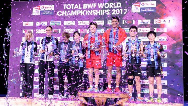 Tontowi/Liliyana berhasil menjuarai Kejuaraan Dunia Bulutangkis. Copyright: © Humas PBSI