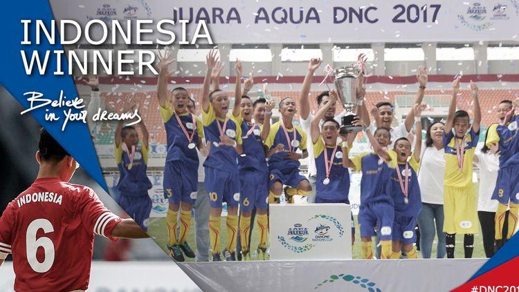Sepakbola anak Indonesia mendapatkan gelar juara Aqua DNC 2017. Copyright: © twitter@danonenationcup