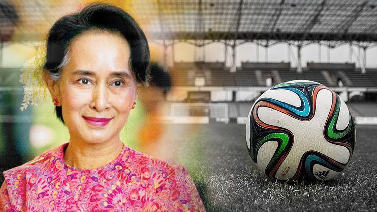 Aung San Suu Kyi pemimpin de facto Myanmar menyukai sepakbola Copyright: © Indosport.com
