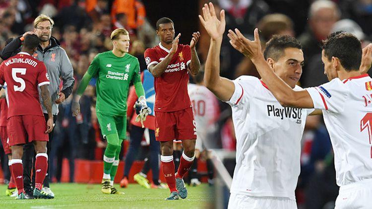 Liverpool ditahan Sevilla dengan skor 2-2 dalam laga Liga Champions Grup E. Copyright: © INDOSPORT