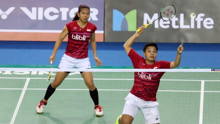 Greysia Polii/Apriani Rahayu di babak kedua Korea Open 2017. Copyright: © Humas PBSI