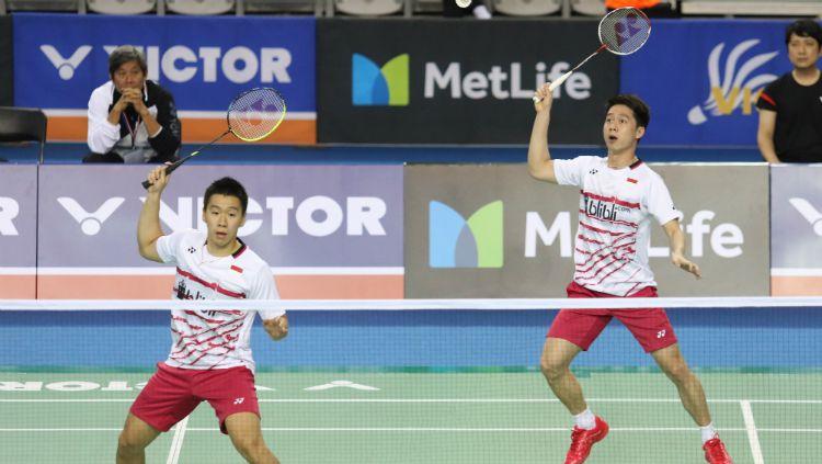 Perjalanan penuh rintangan Kevin Sanjaya/Marcus Gideon untuk mencapai final Korea Open 2019. Copyright: © Humas PBSI