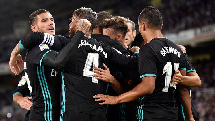 Selebrasi pemain Real Madrid. Copyright: © Twitter Squawka News