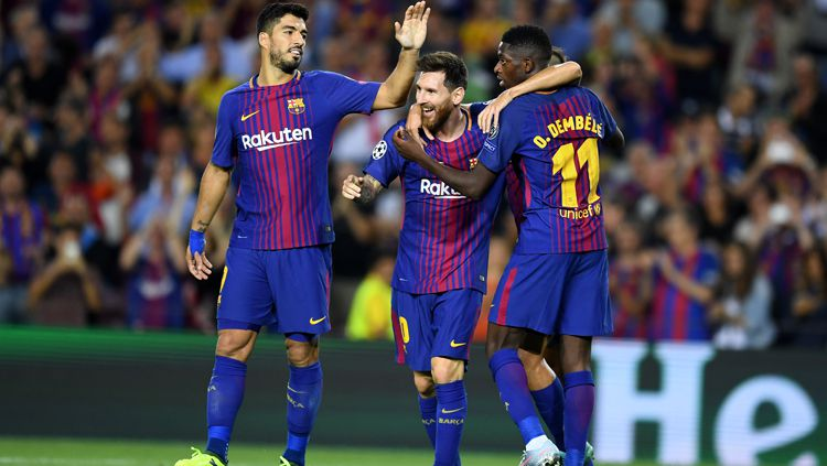 Barcelona (Luis Suarez, Lionel Messi, Ousmane Dembele). Copyright: © INDOSPORT/Getty Images