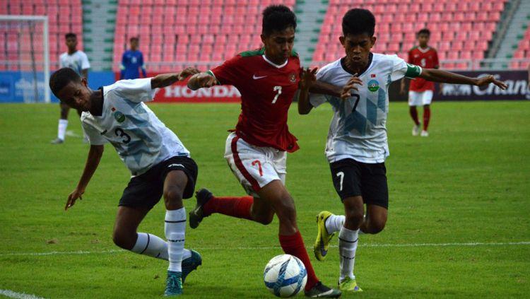 Pemain depan Timnas Indonesia U-16, Amanar Abdillah, saat melawan Timor Leste Copyright: © PSSI