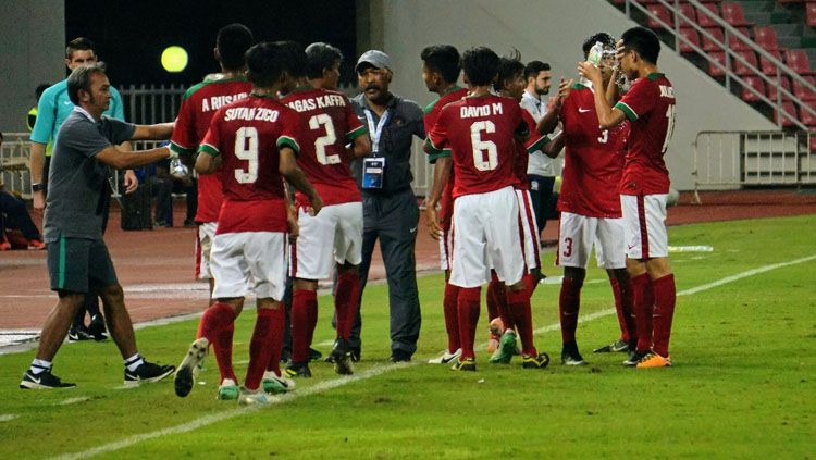 Timnas Indonesia U-16 saat melawan Timnas Thailand U-16. Copyright: © PSSI