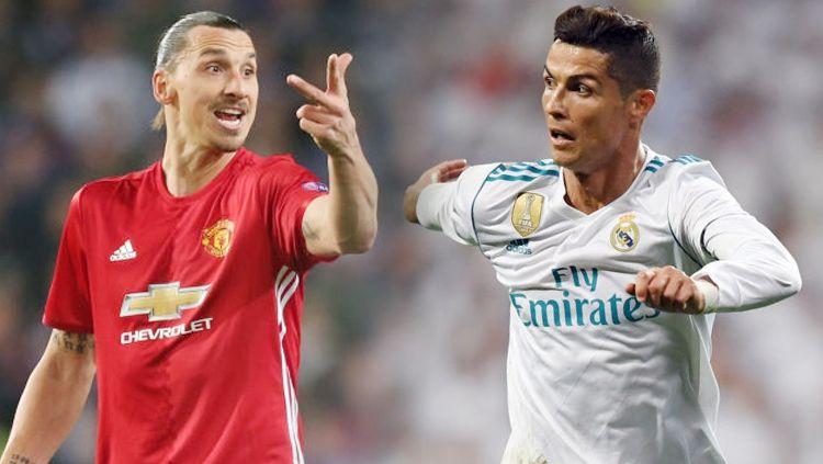 Zlatan Ibrahimovic dan Cristiano Ronaldo. Copyright: © INDOSPORT