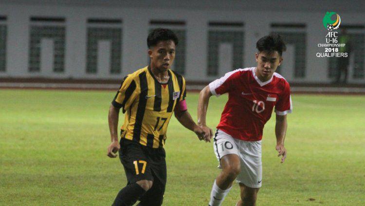 Malaysia U-16 versus Singapura U-16. Copyright: © the-afc.com