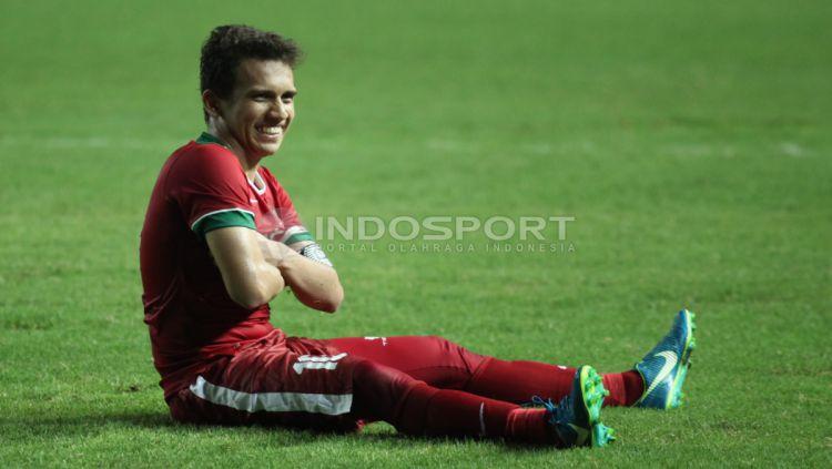 Selebrasi Egy Maulana Vikri usai mencetak gol kedua ke gawang Kamboja U-19. Copyright: © Herry Ibrahim/INDOSPORT