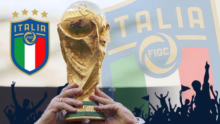 Logo Timnas Italia dan Piala Dunia. Copyright: © Grafis: Eli Suhaeli/INDOSPORT