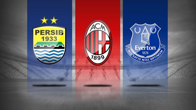 Logo Persib Bandung, AC Milan, dan Everton. Copyright: © Grafis: Eli Suhaeli/INDOSPORT