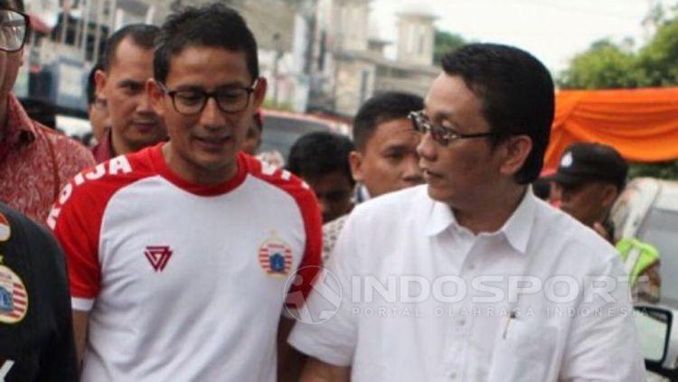 Wagub DKI, Sandiaga Uno dengan Ketua Panpel Persija, Arief Perdana Kusuma. Copyright: © Muhammad Adiyaksa/Indosport.com