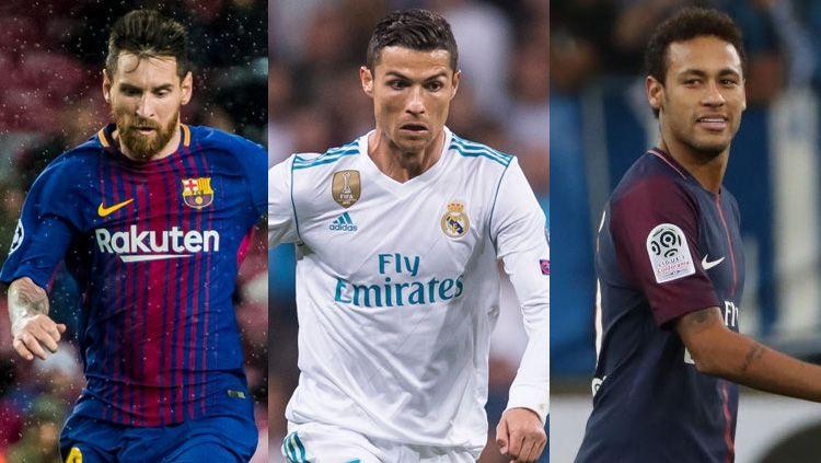 Kiri-kanan: Lionel Messi, Cristiano Ronaldo, dan Neymar. Copyright: © INDOSPORT