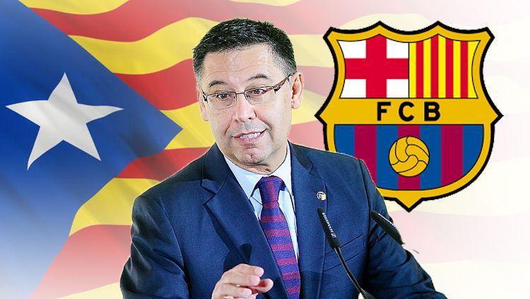 Presiden Barcelona, Josep Maria Bartomeu, saat ini tengah terancam lengser lebih cepat setelah suporter mengumpulkan tanda tangan untuk mosi tidak percaya. Copyright: © Grafis: Eli Suhaeli/INDOSPORT
