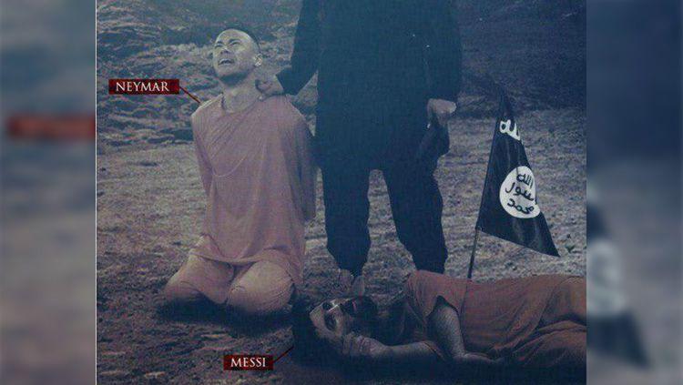 ISIS kembali menebar poster ancaman berupa Lionel Messi dan Neymar. Copyright: © Twitter/@BreakingNLive