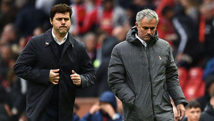 Mauricio Pochettino dan Jose Mourinho. Copyright: © INDOSPORT