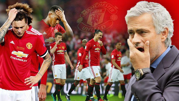 Jose Mourinho dan Pemain Manchester United di musim 2017/18. Copyright: © Grafis: Eli Suhaeli/INDOSPORT/Instagram