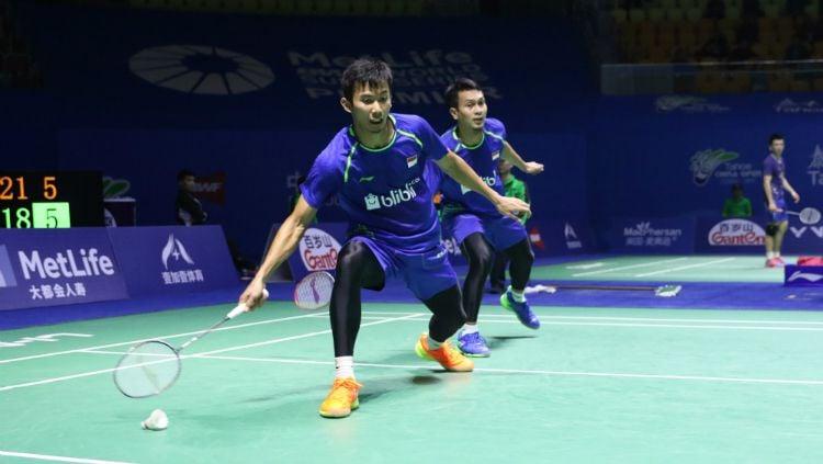 Mohammad Ahsan/Rian Agung Saputro di babak pertama China Open 2017. Copyright: © Humas PBSI