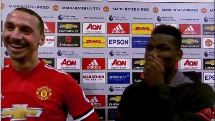 Ibrahimovic dan Pogba diwawancara usai pertandingan melawan Newcastle. Copyright: © BT Sport