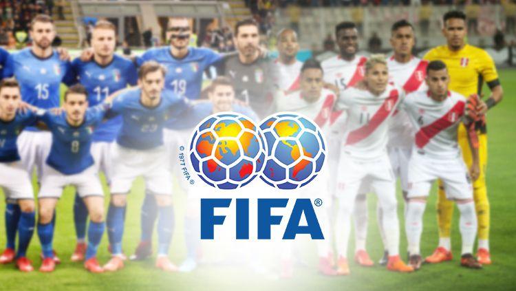 Skuat Timnas Italia, Peru, dan logo FIFA. Copyright: © INDOSPORT
