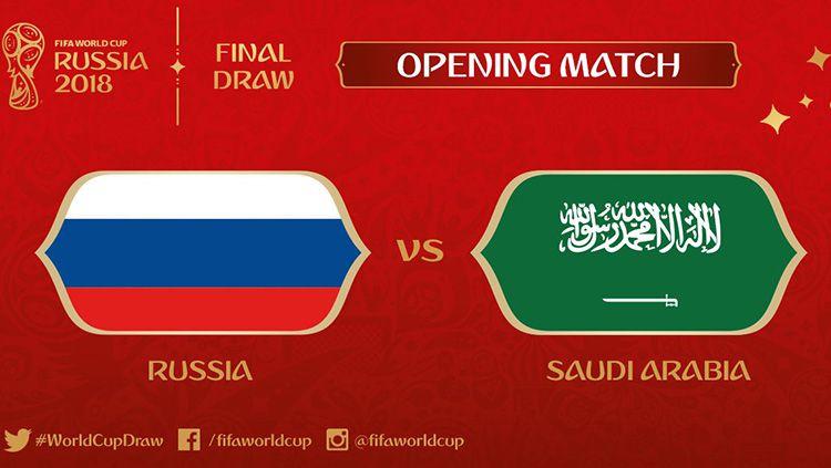 Rusia akan bertemu dengan Arab Saudi di laga pembuka Piala Dunia 2018. Copyright: © FIFA