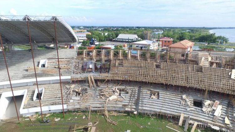 Pembangunan Stadion Barombong. Copyright: © Tribun Makassar