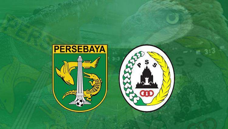 Logo Persebaya Surabaya vs PSS Sleman. Copyright: © Grafis: Eli Suhaeli/INDOSPORT