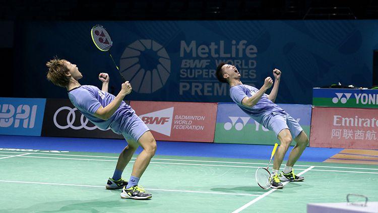 Pasangan Indonesia, Kevin Sanjaya Sukamuljo/Marcus Fernaldi Gideon melenggang ke semifinal. Copyright: © Huma PBSI