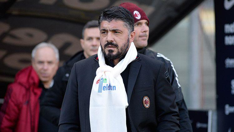Pelatih AC Milan, Gennaro Gattuso saat melawan Hellas Verona. Copyright: © INDOSPORT